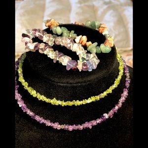 4-Pcs Semiprecious Stone Jewelry Amethyst Peridot